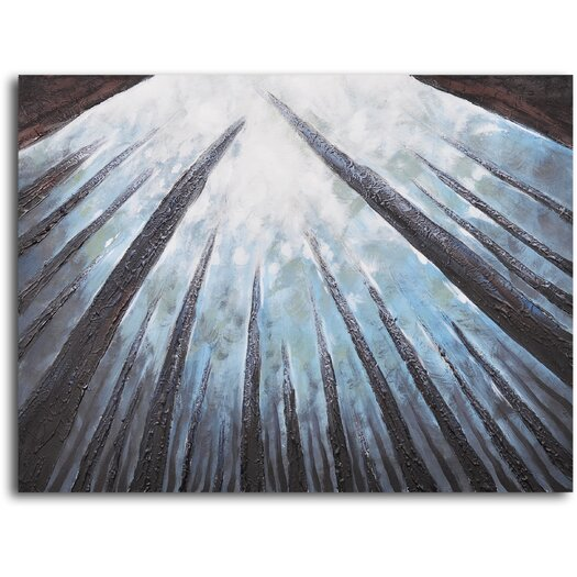 My Art Outlet 'Treetops Bathed in Mist' Original Painting on Wrapped Canvas