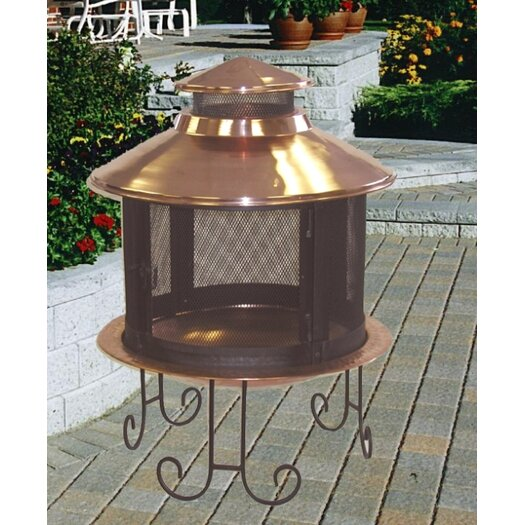 Unique Arts Copper Wood Pagoda Fireplace