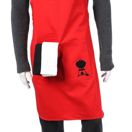 Weber Apron in Red with Black and White Towel Set