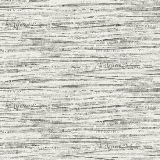 """York Wallcoverings Black and White Newsprint 27' x 27"""" Abstract Roll Wallpaper"""