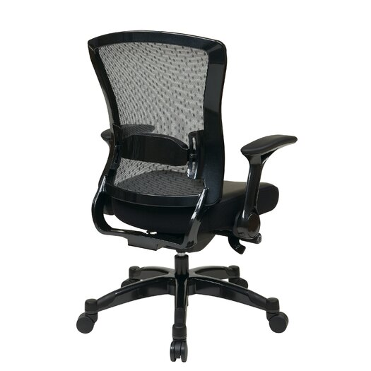 Office Star Products Space Seating Eco Leather Conference Back Chair with Flip Arms