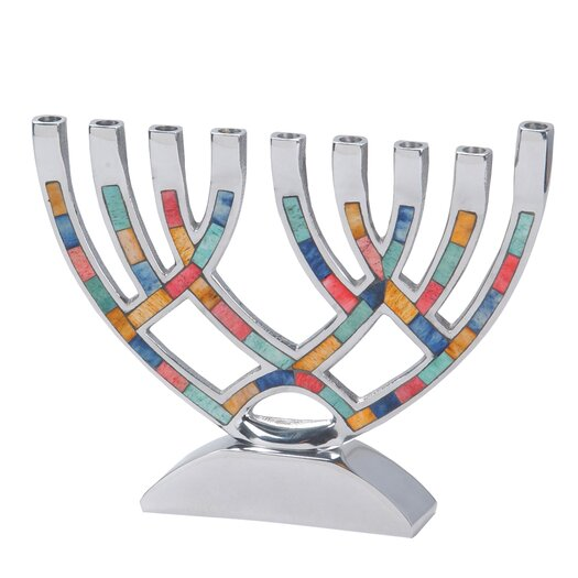 Israel Giftware Design Contemporary Aluminum Menorah