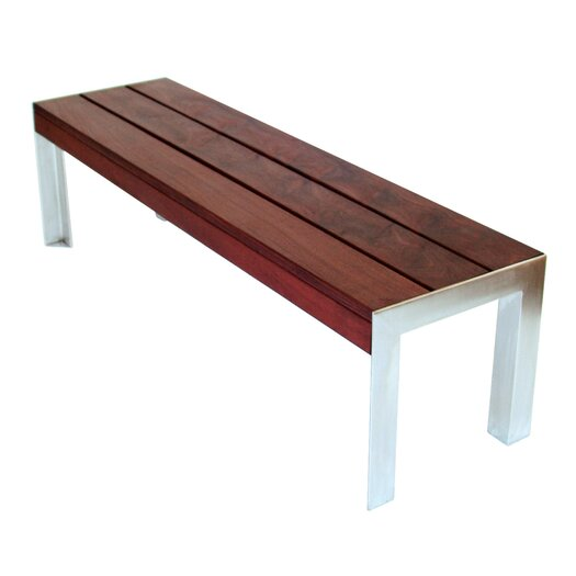 Modern Outdoor Etra Large Wood And Stainless Steel Bench Allmodern