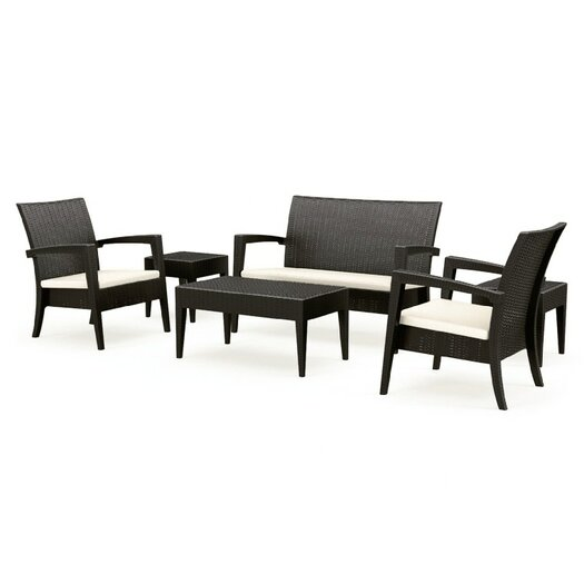 Compamia Wickerlook 6 Piece Lounge Seating Group with Cushions