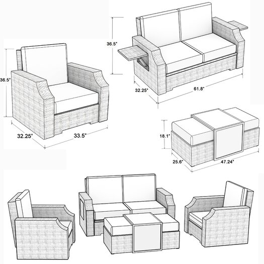 Mission Hills Sedona 4 Piece Deep Seating Group with Cushions