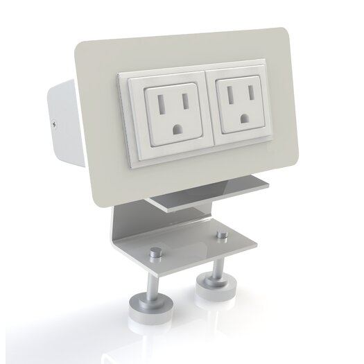 Scale 1:1 EYHOV Rail Desktop Mounted Power Unit with 2 Outlets