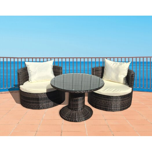 Deeco Geo Vino 3 Piece Seating Group with Cushions