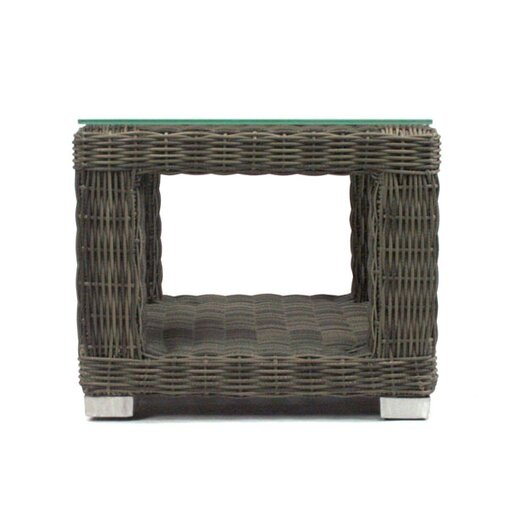 Patio Heaven Palisades End Table Base with Tempered Glass Top