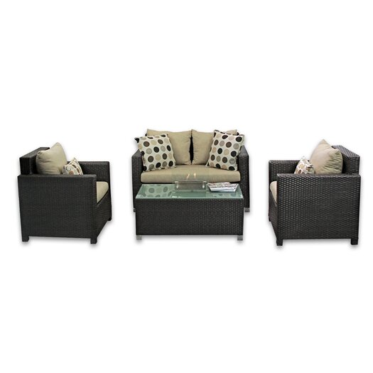 Patio Heaven Skye Venice 4 Piece Lounge Seating Group with Cushions