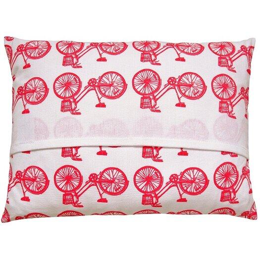 Artgoodies Bike All Over Pattern Block Print Accent Cotton Throw Pillow