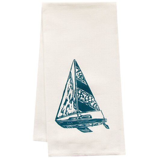 Artgoodies Organic Sailboat Block Print Tea Towel