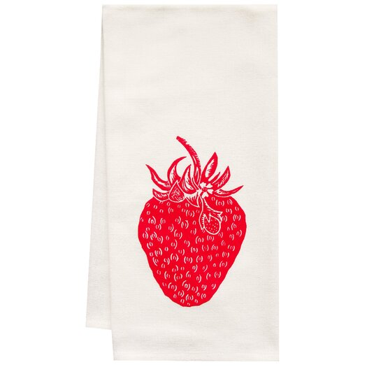 Artgoodies Organic Strawberry Block Print Tea Towel