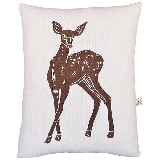 Artgoodies Deer Block Print Squillow Accent Cotton Throw Pillow