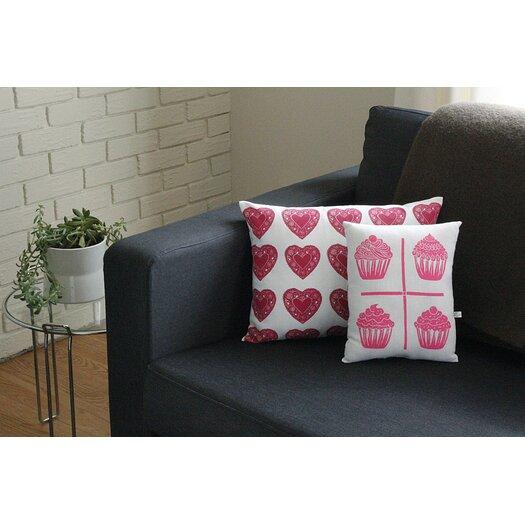 Artgoodies Squillow Cupcake Grid Block Print Accent Cotton Throw Pillow