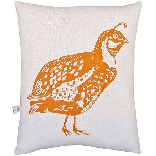 Artgoodies Quail Block Print Squillow Accent Cotton Throw Pillow