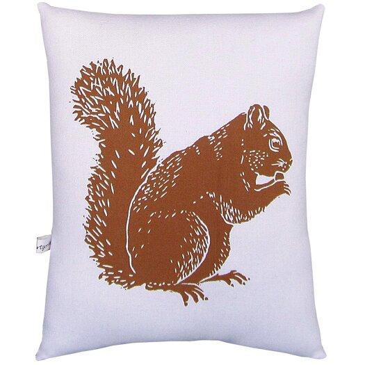 Artgoodies Squirrel Block Print Squillow Accent Cotton Throw Pillow