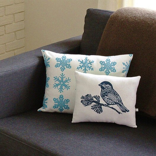 Artgoodies Snowflake All Over Pattern Block Print Accent Cotton Throw Pillow