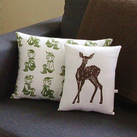 Artgoodies Elf All Over Pattern Block Print Accent Cotton Throw Pillow