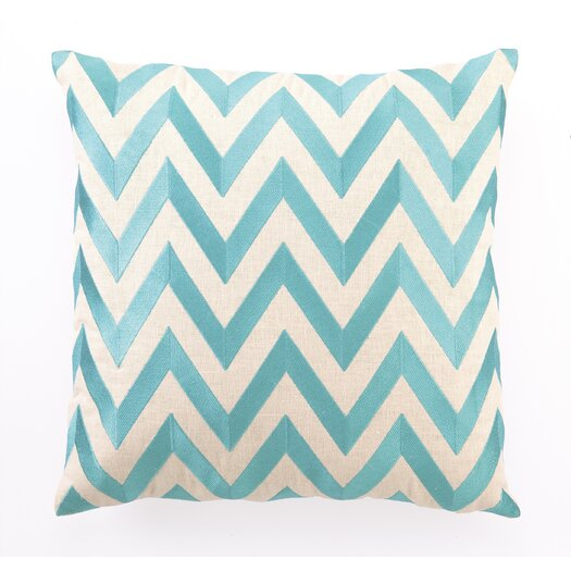 D.L. Rhein Embroidered Zig Zag Linen Throw Pillow