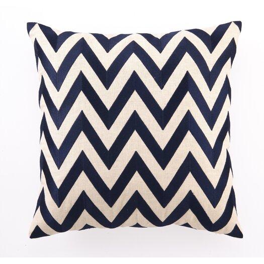 D.L. Rhein Embroidered Zig Zag Linen Throw Pillow