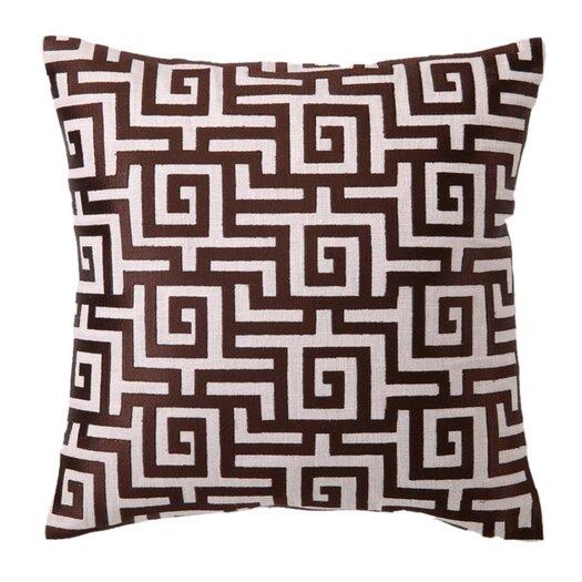 D.L. Rhein Embroidered Greek Linen Throw Pillow