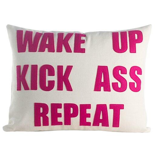 Mantras Wake Up Kick Ass Repeat Throw Pillow