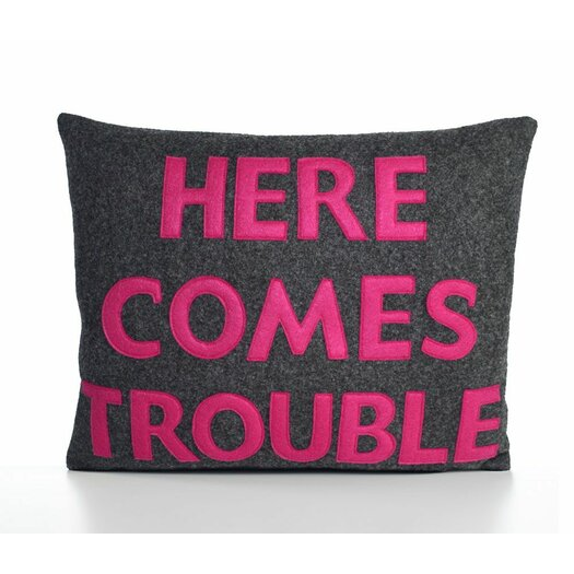 Alexandra Ferguson House Rules Here Comes Trouble Throw Pillow