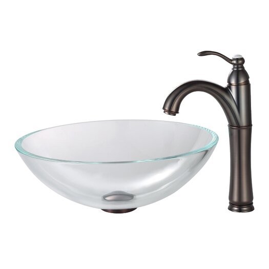 Kraus Crystal Clear Glass Vessel Sink with Pop Up Drain & Mounting Ring