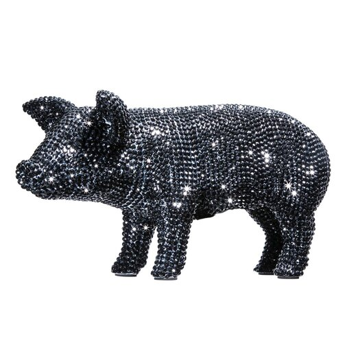 Graphite Rhinestone Piggy Bank