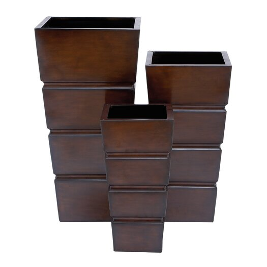 Woodland Imports 3 Piece Square Planter Box Set
