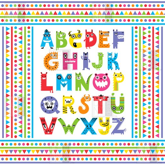 DENY Designs Andi Bird Alphabet Monsters Shower Curtain