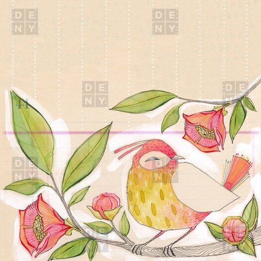 DENY Designs Cori Dantini Little Bird On A Flowery Branch Shower Curtain
