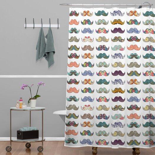 DENY Designs Bianca Green Mustache Mania Shower Curtain