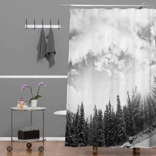 DENY Designs Bird Wanna Whistle Mountain Shower Curtain