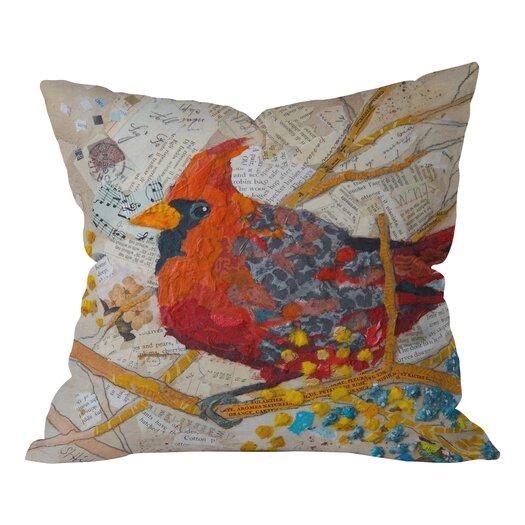 DENY Designs Elizabeth St Hilaire Nelson Cardinal On White Throw Pillow