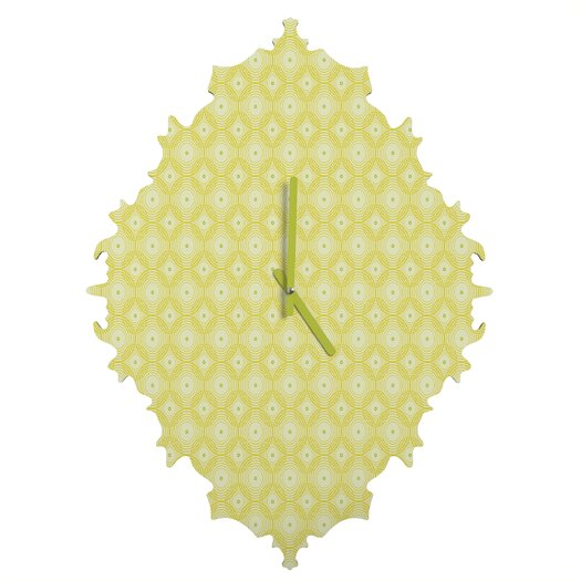 DENY Designs Caroline Okun Yellow Spirals Wall Clock
