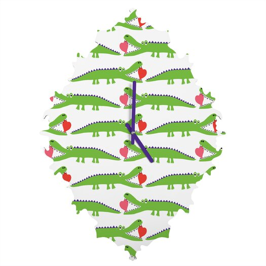 DENY Designs Andi Bird Alligator Love Wall Clock