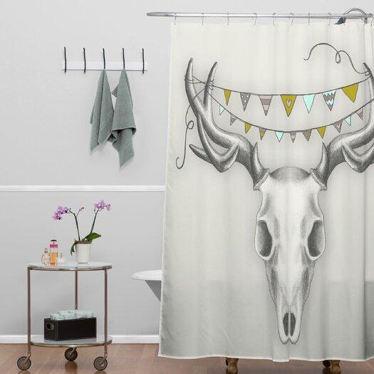 DENY Designs Wesley Bird Skull Shower Curtain