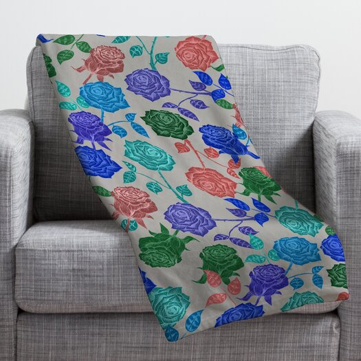 DENY Designs Bianca Green Roses Throw Blanket
