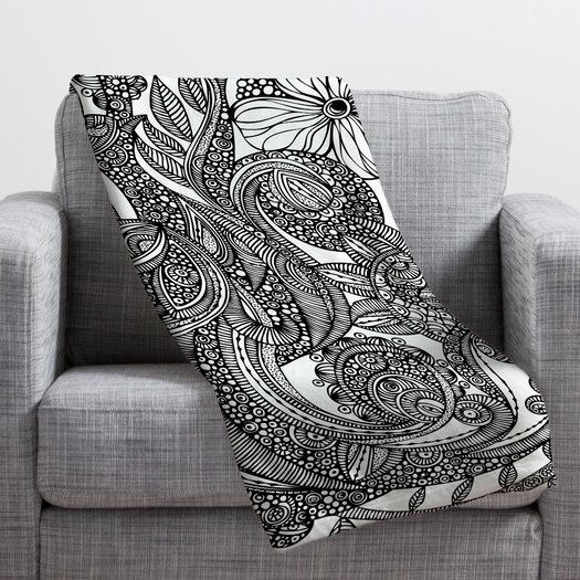 DENY Designs Valentina Ramos Bird in Flowers Black White Throw Blanket