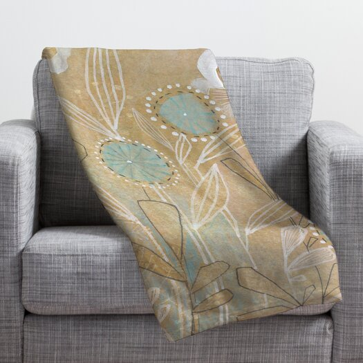 DENY Designs Cori Dantini Blue Floral Throw Blanket