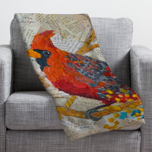 DENY Designs Elizabeth St Hilaire Nelson Cardinal On White Throw Blanket