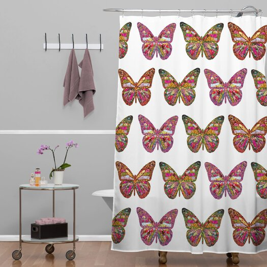 DENY Designs Bianca Green Butterflies Fly Shower Curtain