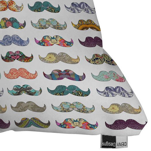 DENY Designs Bianca Green Mustache Mania Throw Pillow