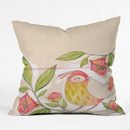 DENY Designs Cori Dantini Little Bird on A Flowery Branch Indoor/Outdoor Throw Pillow
