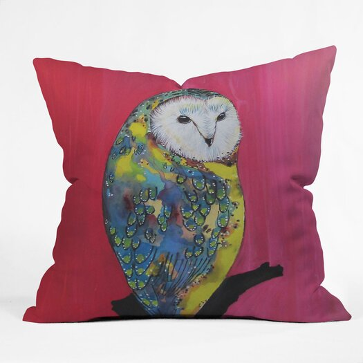 DENY Designs Clara Nilles Owl on Lipstick Indoor/Outdoor Throw Pillow