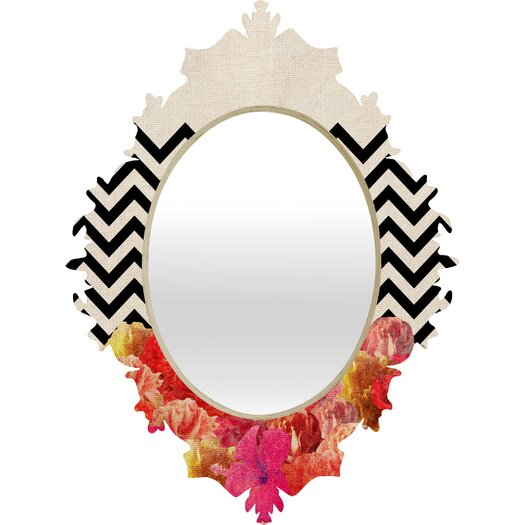 DENY Designs Bianca Green Chevron Flora Baroque Wall Mirror