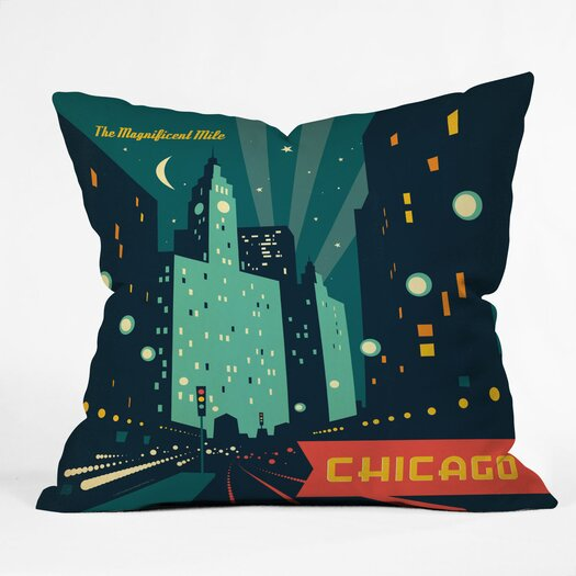 DENY Designs Anderson Design Group Chicago Mag Mile Throw Pillow
