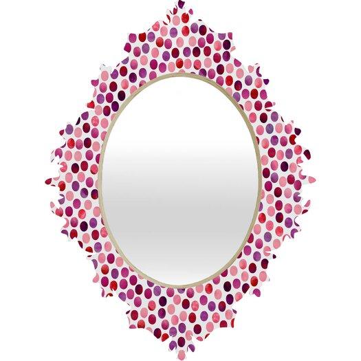 DENY Designs Garima Dhawan Watercolor Dots Berry Baroque Mirror