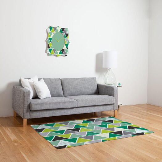 DENY Designs Heather Dutton Emerald Triangulum Green Geometric Area Rug